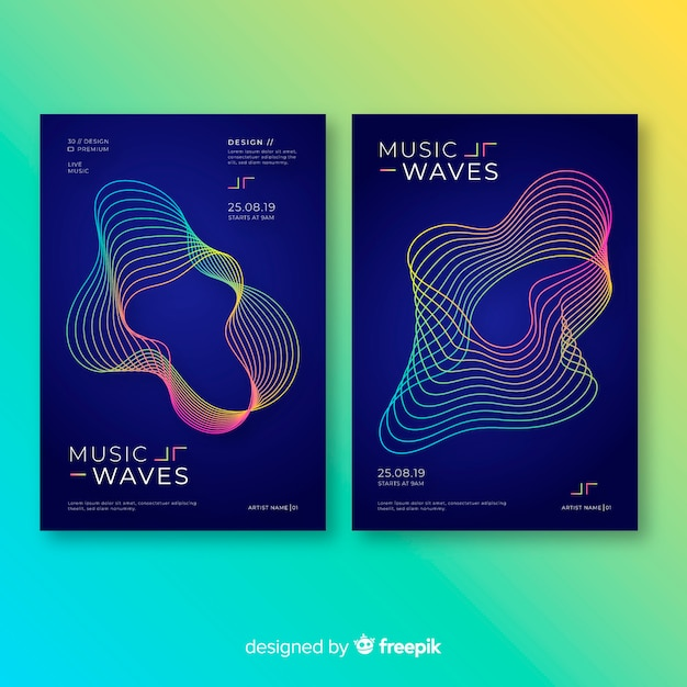 Music poster templates Free Vector