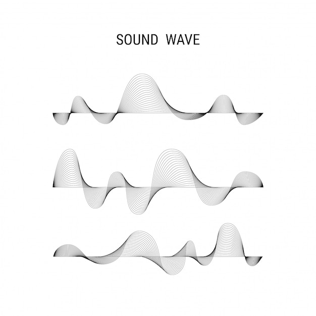 Music poster vector abstract background with dynamic sound waves Premium Vector