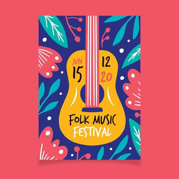 Manifesto di musica con chitarra e foglie Vettore gratuito
