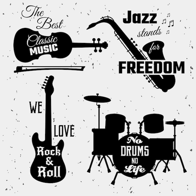 Music quotes monochrome collection Free Vector