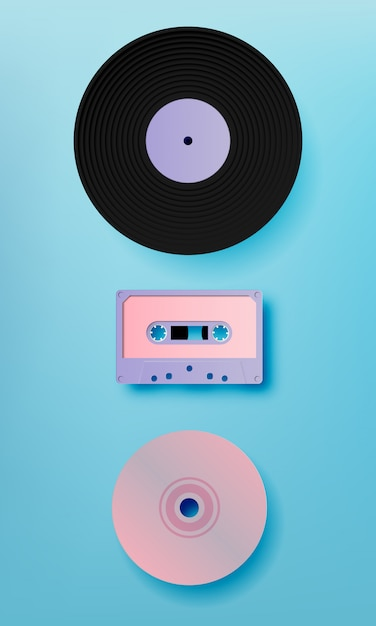 Music retro media paer art style vector illustration Premium Vector