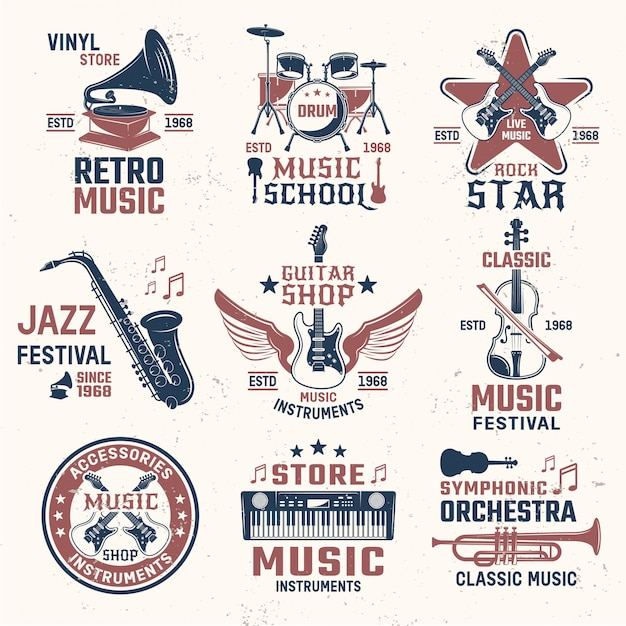 Music retro style emblems Free Vector