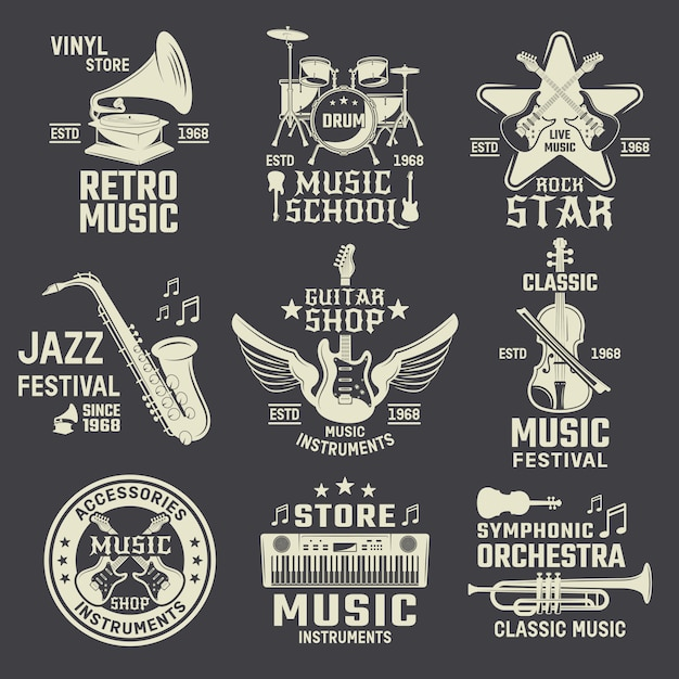 Music school and shops monochrome emblems Free Vector