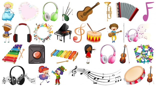 Music set of people and objects Free Vector