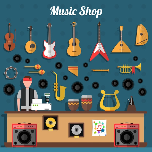 Music shop illustration Free Vector