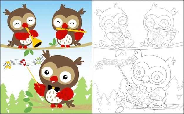 Music show with nice owls cartoon Premium Vector