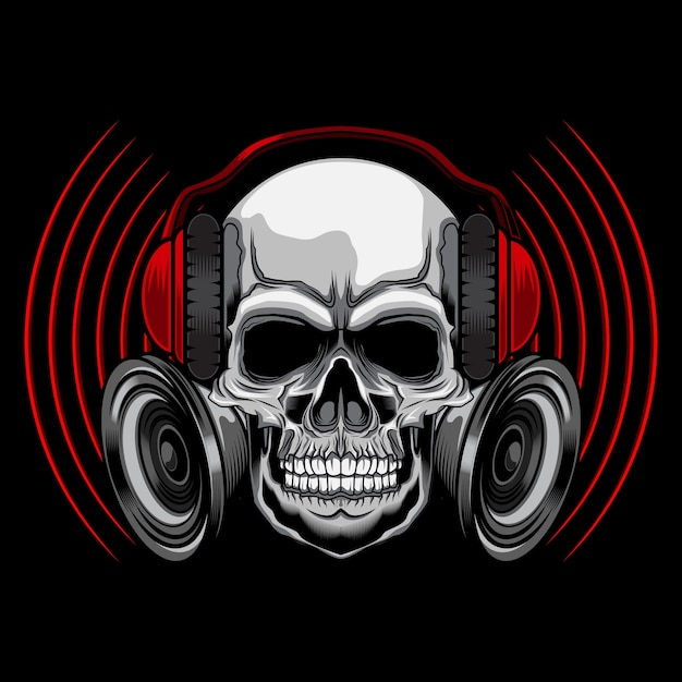 Music skull with headset Premium Vector