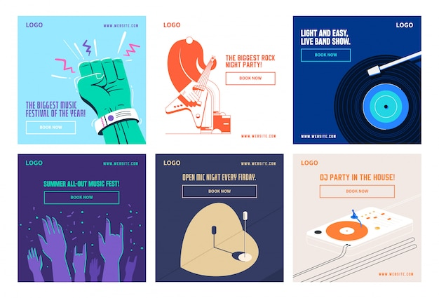 Music social media post collection instagram Premium Vector