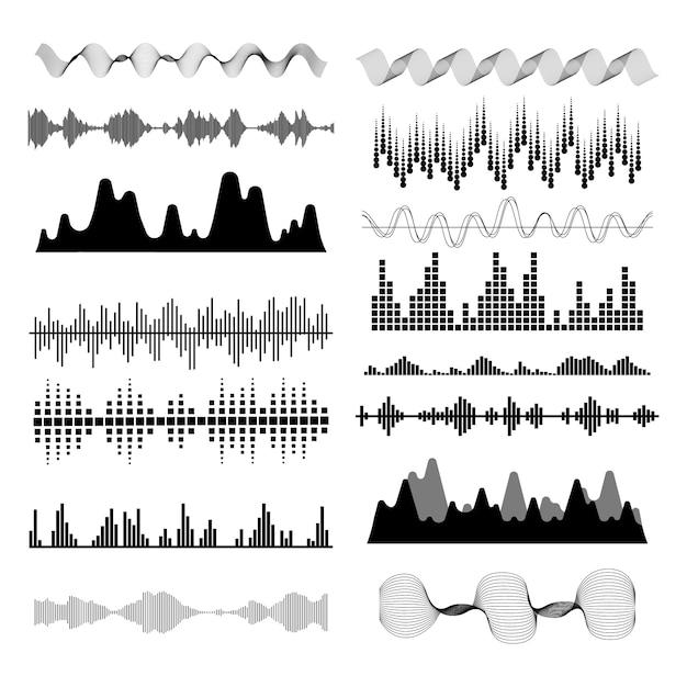 Music sound waves set. Premium Vector