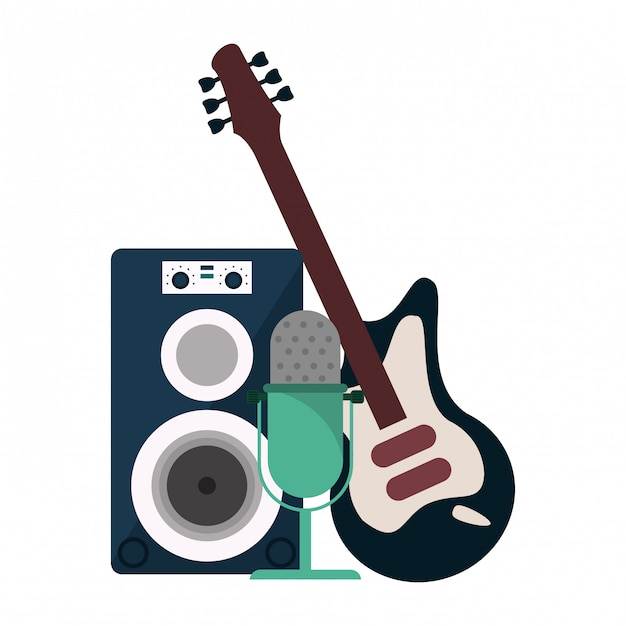 Music speaker with microphone and electric guitar Premium Vector