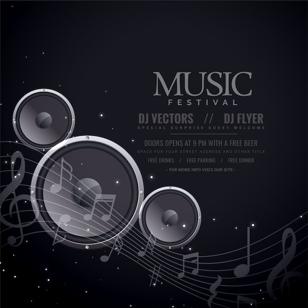 Music speakers black poster Free Vector