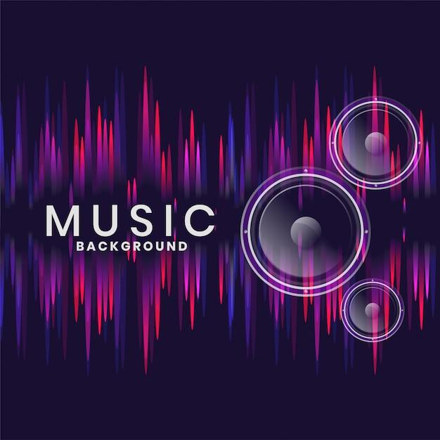 Music speakers in neon style design Free Vector