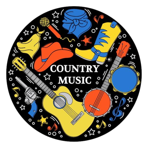 Music sticker western country festival Premium Vector