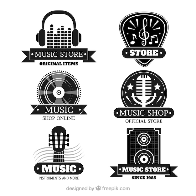 Music store logo collection with flat design Free Vector