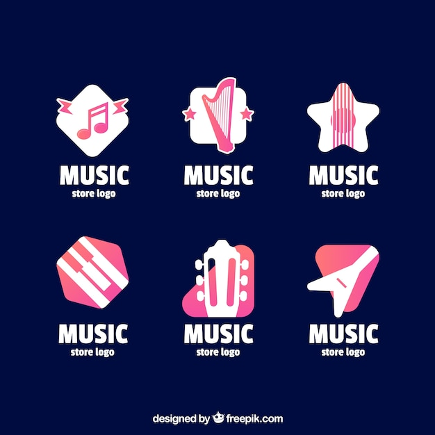 Music Store Logo Collection With Flat Design Vector