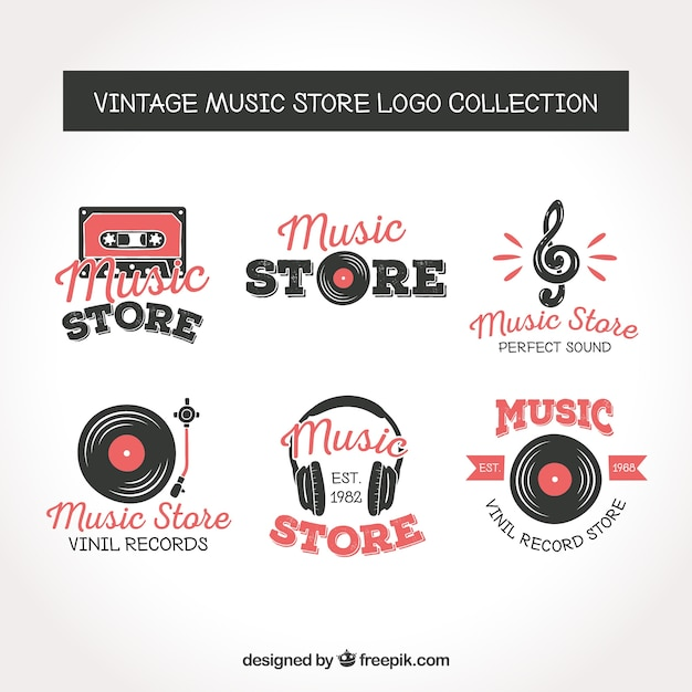 Music store logo collection with vintage style Free Vector