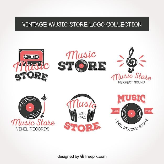 Collezione logo negozio di musica con stile vintage Vettore gratuito