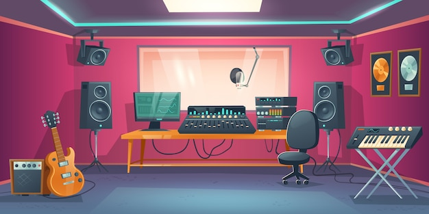 Music studio control room and singer booth Free Vector