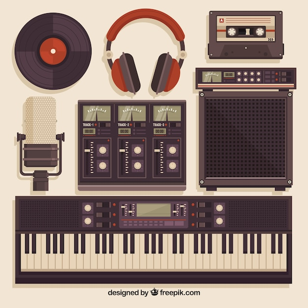 Superb Music Studio Equipment In Vintage Style Vector Free Download Largest Home Design Picture Inspirations Pitcheantrous