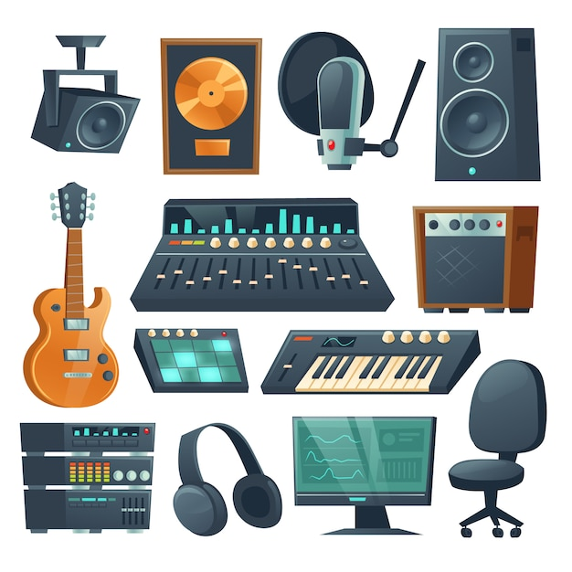 Music studio equipment for sound recording Free Vector