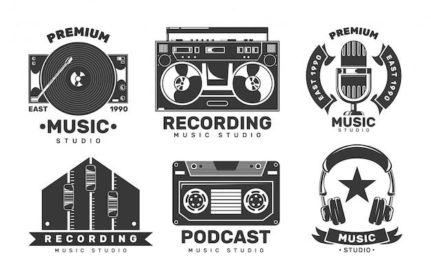 Music studio labels. invitation retro logos. Premium Vector