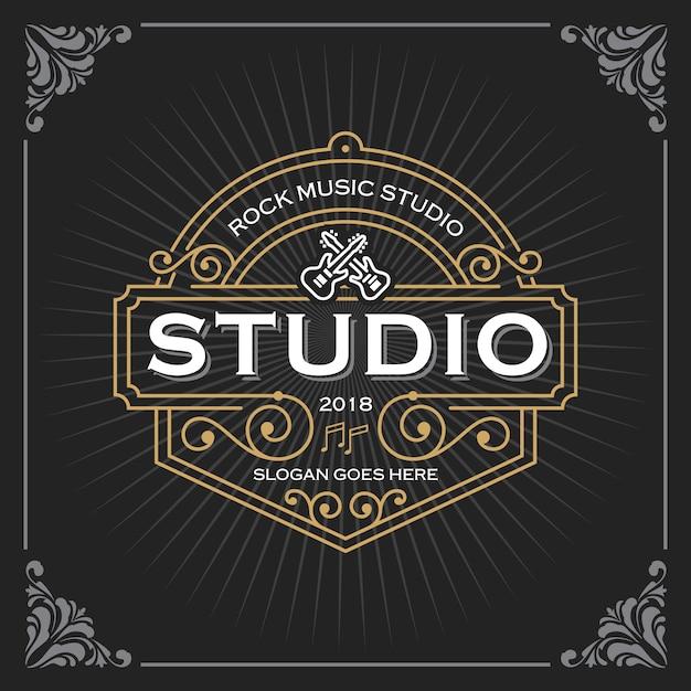 Music studio logo Premium Vector