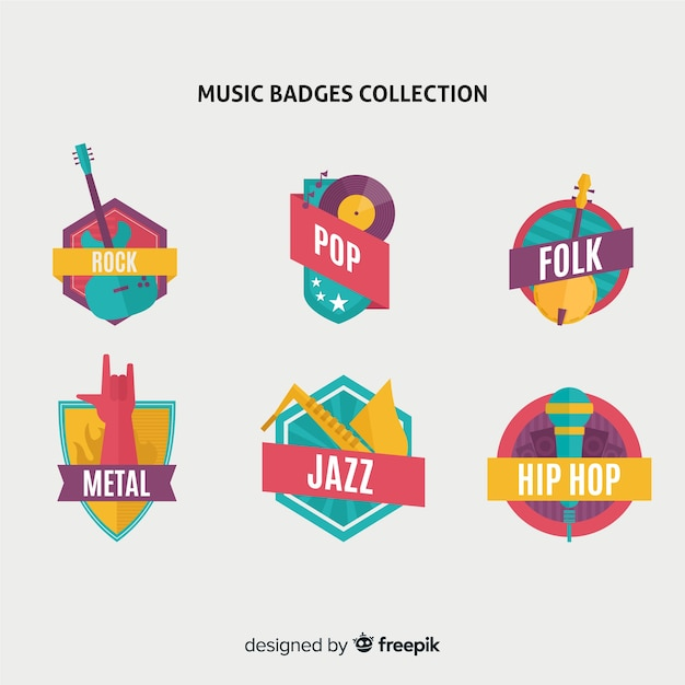 Music style badges and stickers collection on flat design Free Vector