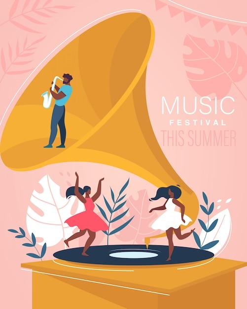 Music summer festival poster. Premium Vector