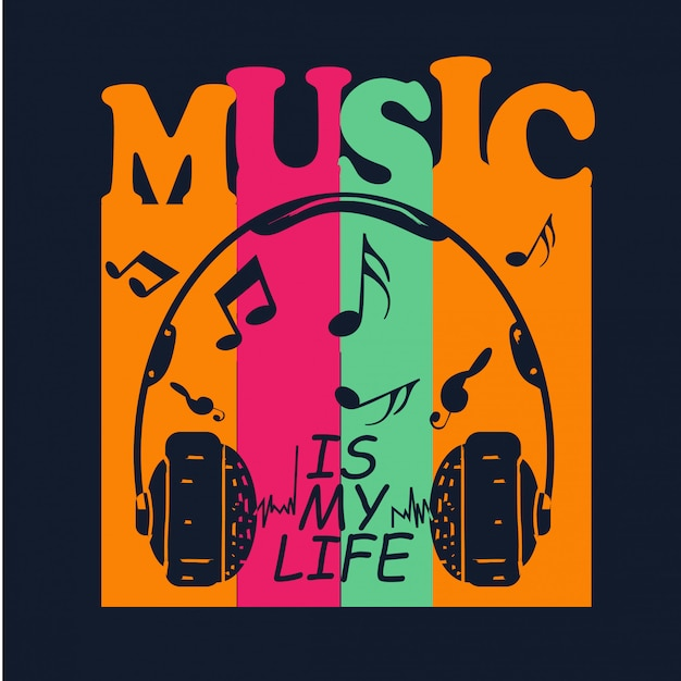 Music for t shirt design Premium Vector