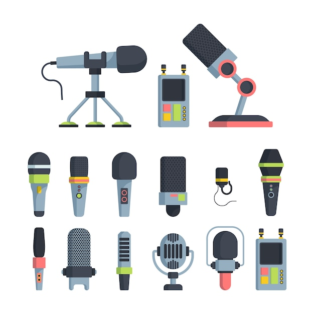 Music and television microphones flat vector illustrations set Premium Vector