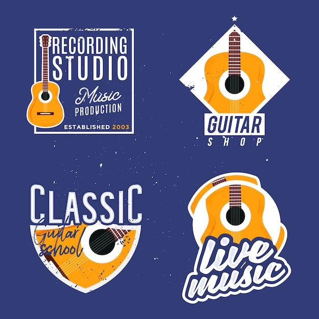 Music themed logotypes Premium Vector
