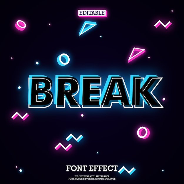 Music tittle font effect with memphis dark background Premium Vector
