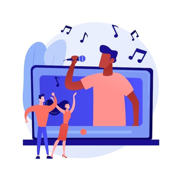 ミュージックビデオ抽象的な概念ベクトルイラスト。公式ビデオクリップ、インターネットとテレビのプレミア、ミュージックビデオの制作、プロのディレクター、撮影クルー、ミュージシャンのプロモーションの抽象的なメタファー。 無料ベクター