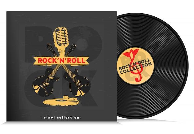 Music vinyl disc composition Free Vector