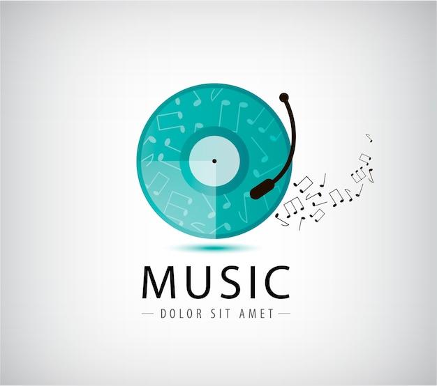 Music vinyl retro vintage logo illustration Premium Vector
