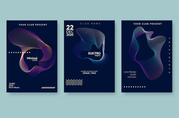 Music wave poster . sound flyer with abstract gradient line waves. Premium Vector
