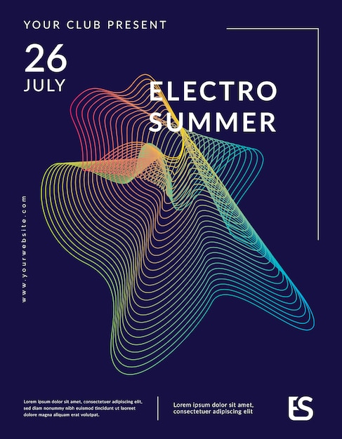 Music wave poster template design Premium Vector