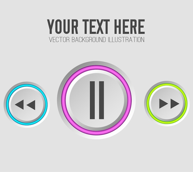 Music web buttons set template Free Vector