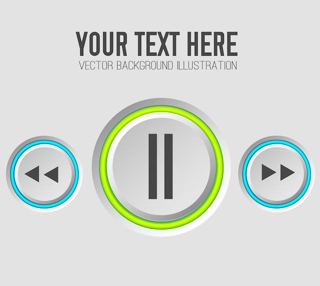 音楽webボタンセットテンプレート 無料ベクター