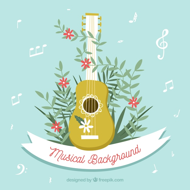 Musical background with ukelele Free Vector