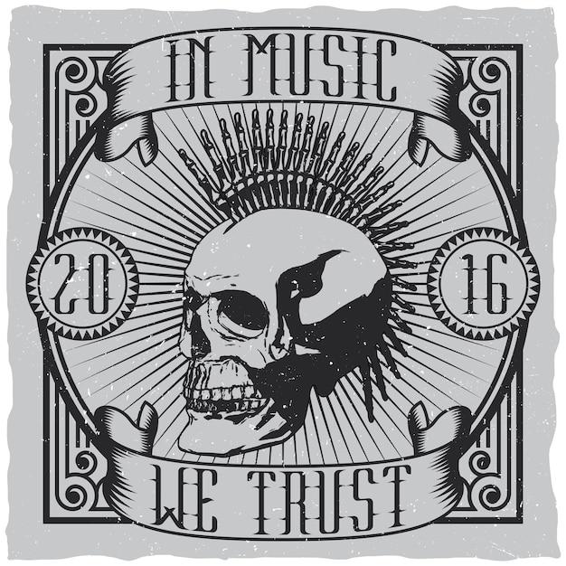 Poster di design creativo musicale con citazione nella musica ci fidiamo del design dell'etichetta per le t-shirt Vettore gratuito