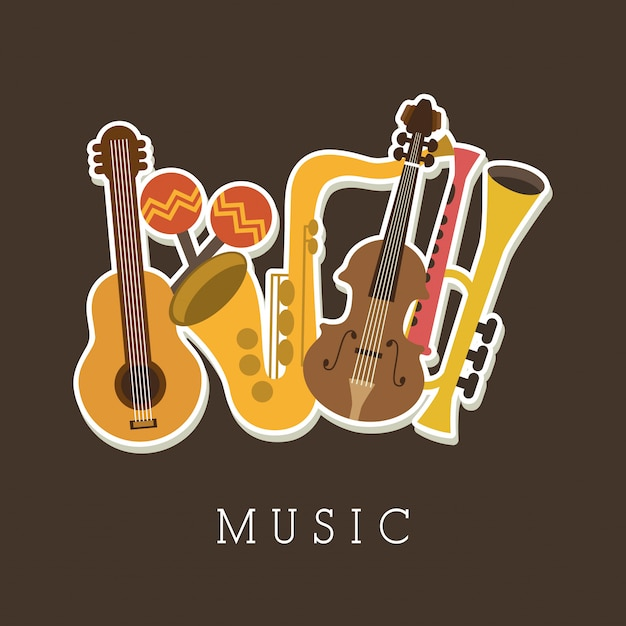 Musical design over brown background vector illustration Premium Vector