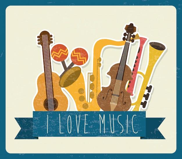 Musical design over white background vector illustration Premium Vector