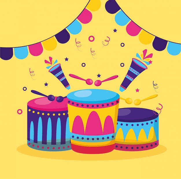 Musical drums with sticks Free Vector