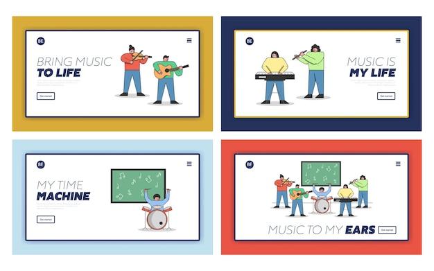 Концепция музыкального образования. набор целевой страницы веб-сайта. Premium векторы