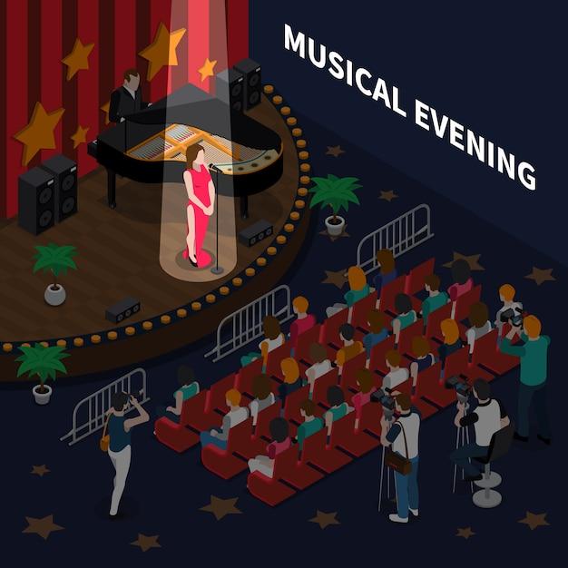 Музыкальная вечерняя изометрическая композиция с певицей на сцене, исполняющей романтическую песню в сопровождении фортепиано Бесплатные векторы