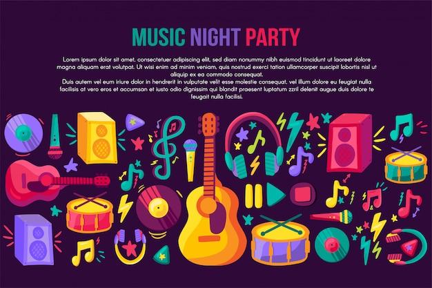 Musical festival invitation vector template Premium Vector