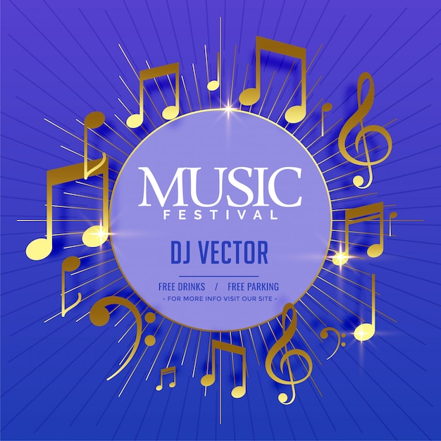 Musical flyer template with golden sound notes Free Vector