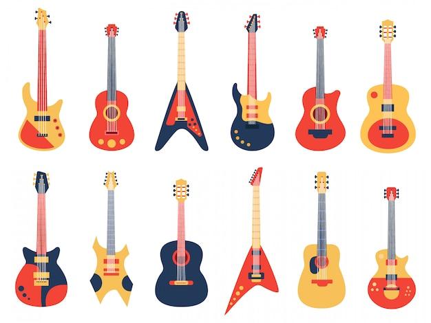 Музыкальная гитара. акустические, электрические рок и джазовые гитары, гитары в стиле ретро, набор музыкальных инструментов. гитарный инструмент для рок-музыки, электрического и акустического баса Premium векторы