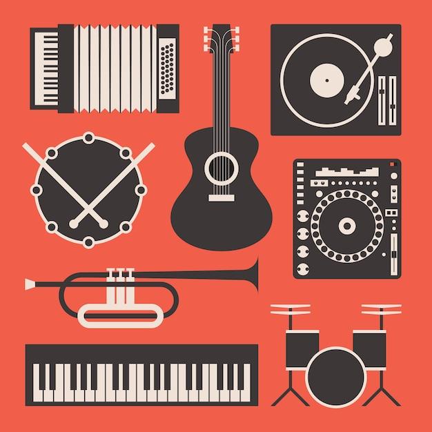 Иллюстрация музыкального инструмента Premium векторы